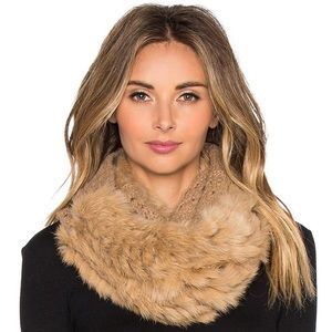 DVF Fox Fur Cable Knit Infinity Scarf